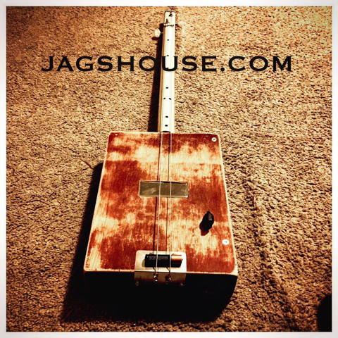 Relicced Distressed 2 string Diddley Bow Cigar Box Guitar
