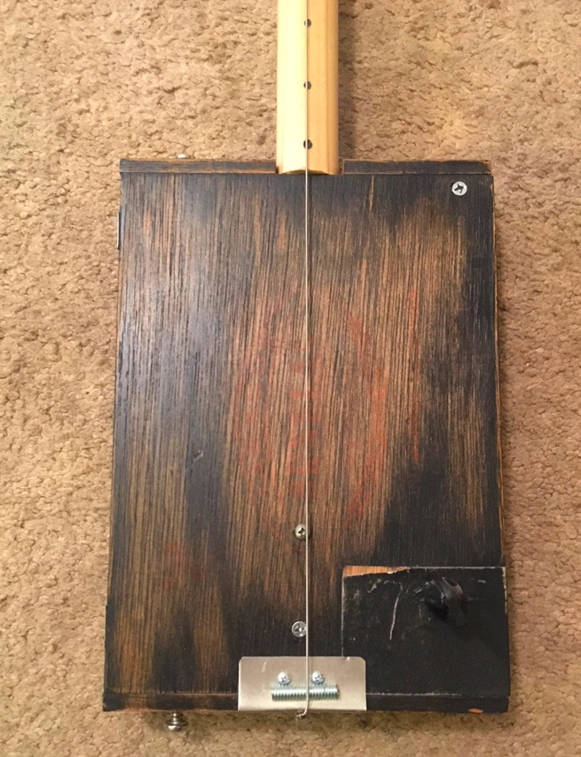 Plain Wood Reliced Dark Diddley Bow Cigar Box Guitar