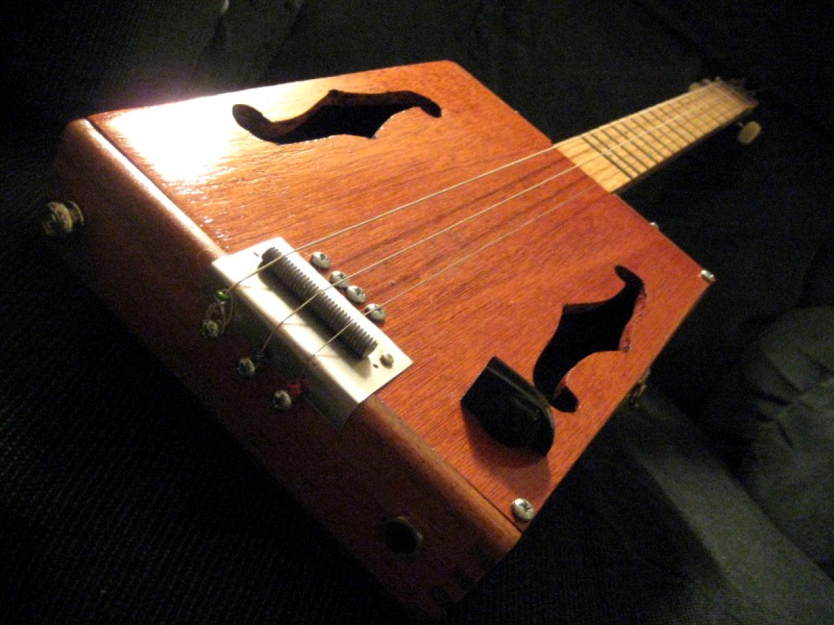 Cohiba Wood 3-String F-hole Cigar Box Guitar
