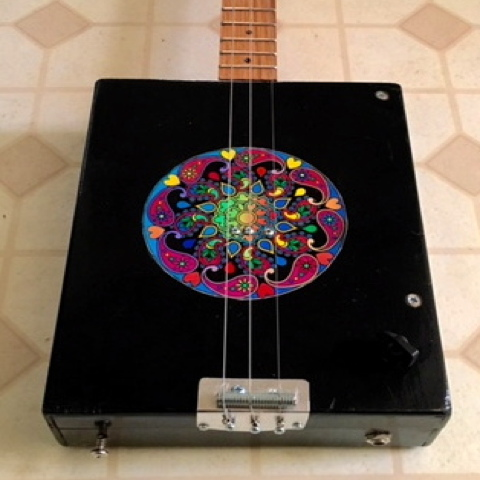 Black Mandala 3-String Cigar Box Guitar