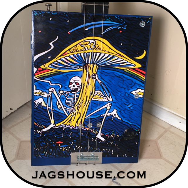 Mushroom Grateful Dead Cigar Box Guitar