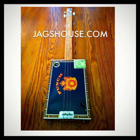 Black Punch Little Mojo Fretless Cigar Box Guitar