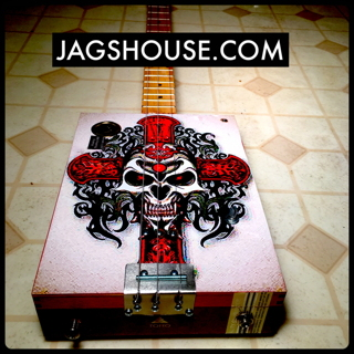 Red Skull Cigar Box Guitar